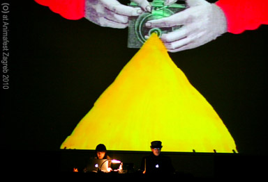 max hattler and noriko okaku performing (O) at animafest zagreb, 2010